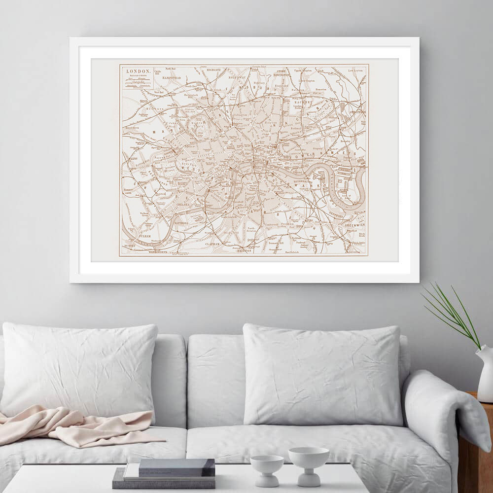 London Vintage Street Map Cartography Sepia Print Framed