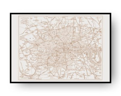 London Vintage Street Map Cartography Sepia Print