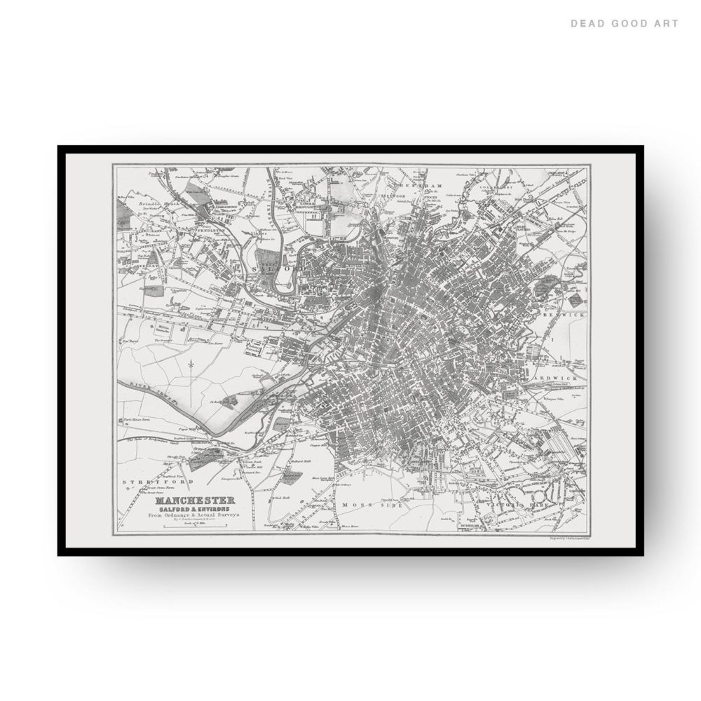 Manchester Vintage Street Map Cartography Black Print