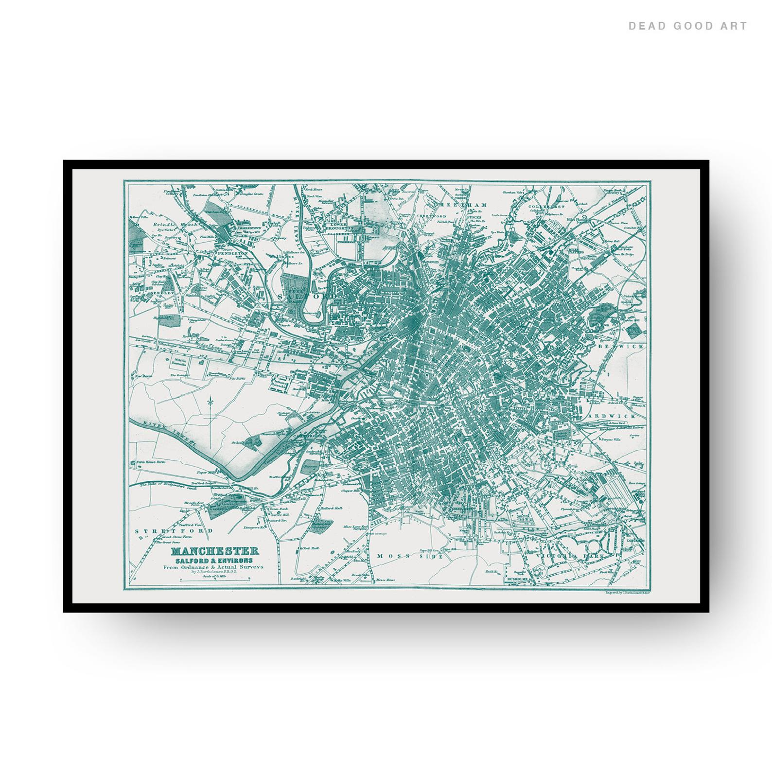 Manchester Vintage Street Map Cartography Green Print