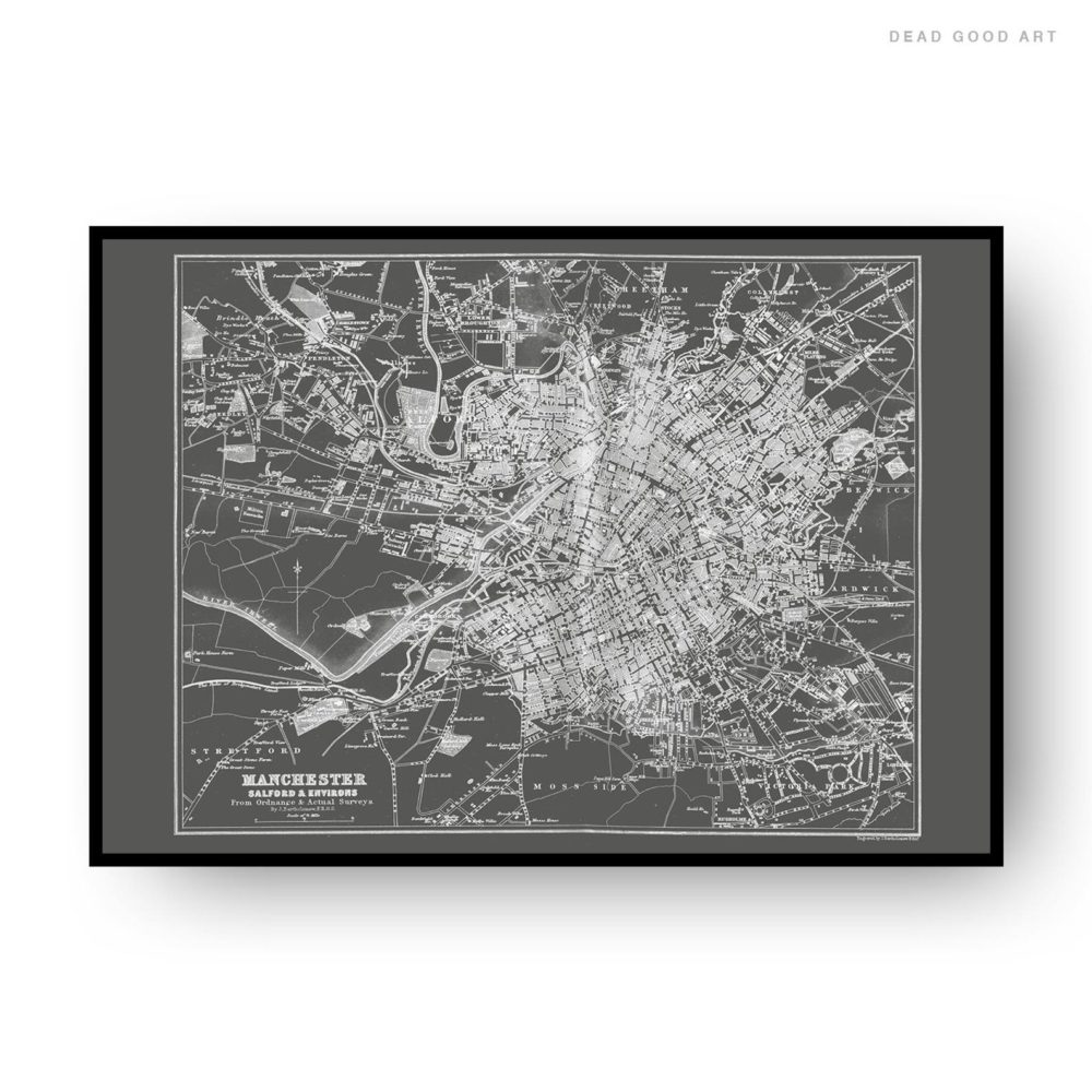 Manchester Vintage Street Map Cartography Grey Background Print