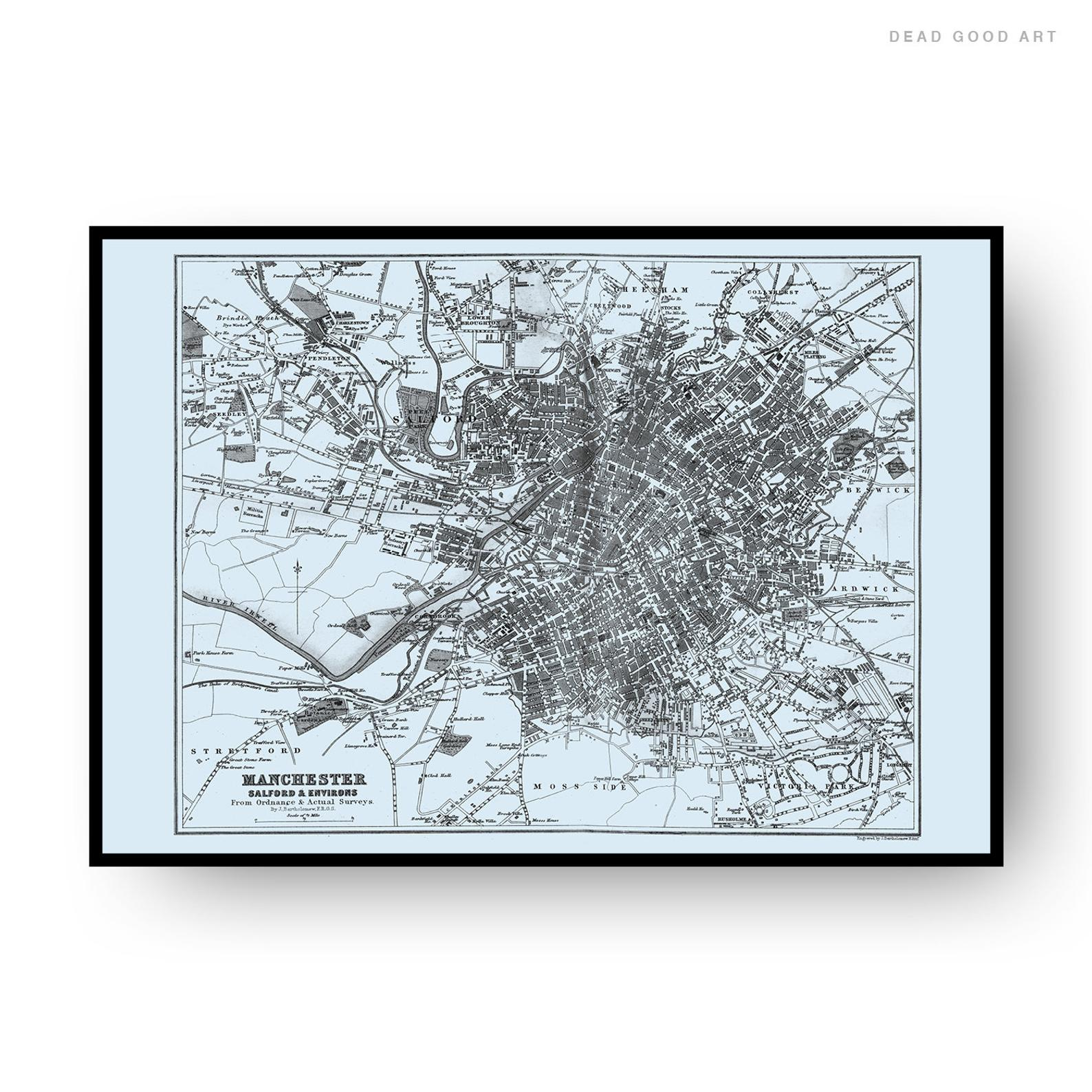Manchester Vintage Street Map Cartography Light Blue Background Print