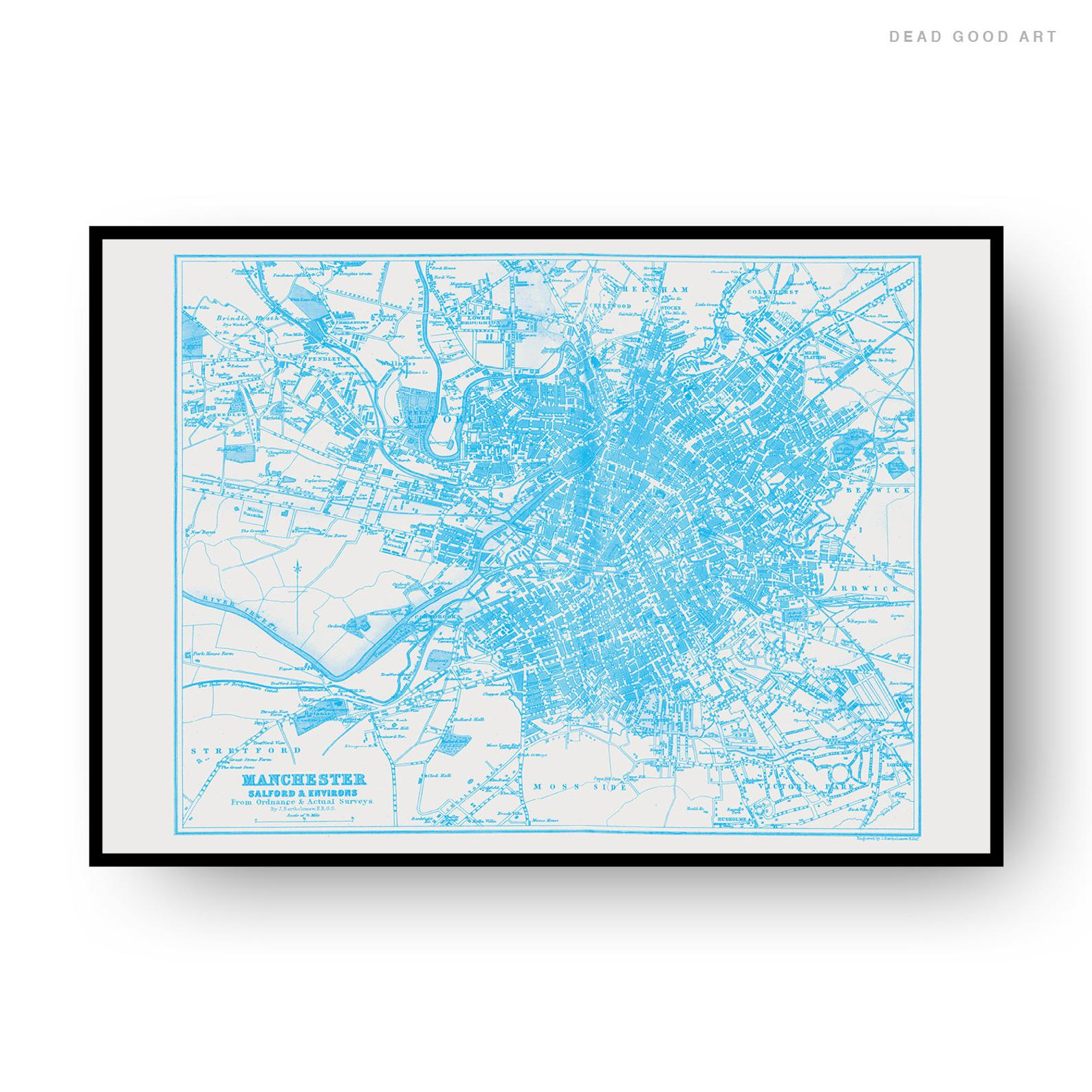 Manchester Vintage Street Map Cartography Light Blue Print
