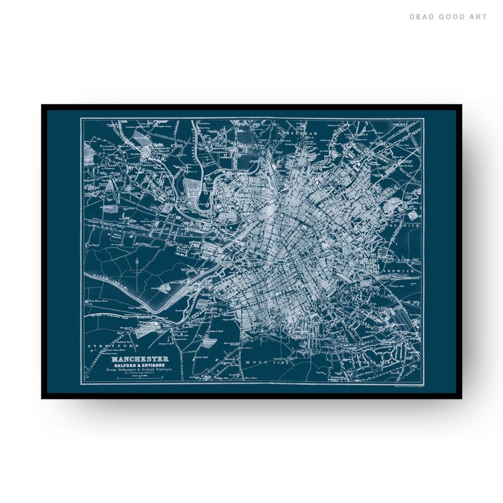 Manchester Vintage Street Map Cartography Navy Blue Background Print