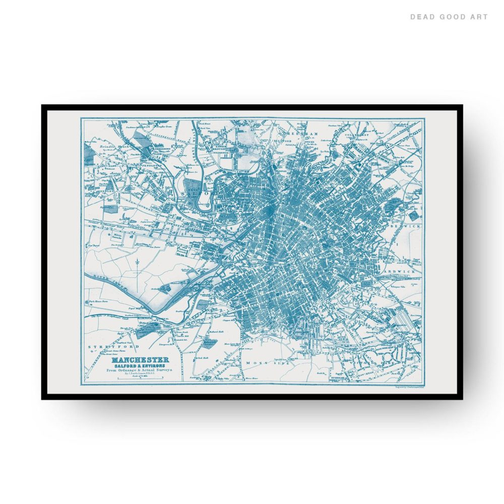 Manchester Vintage Street Map Cartography Navy Blue Print