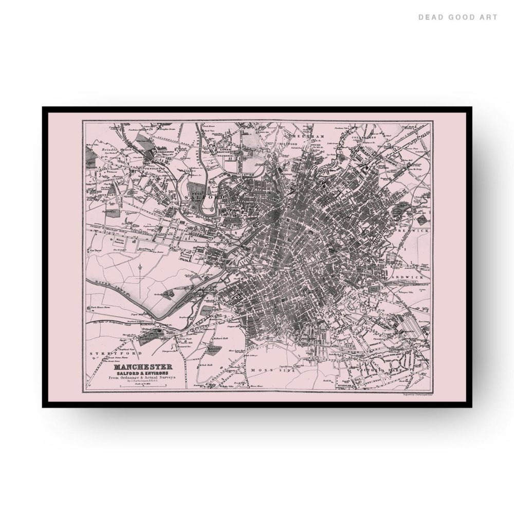 Manchester Vintage Street Map Cartography Pink Background Print