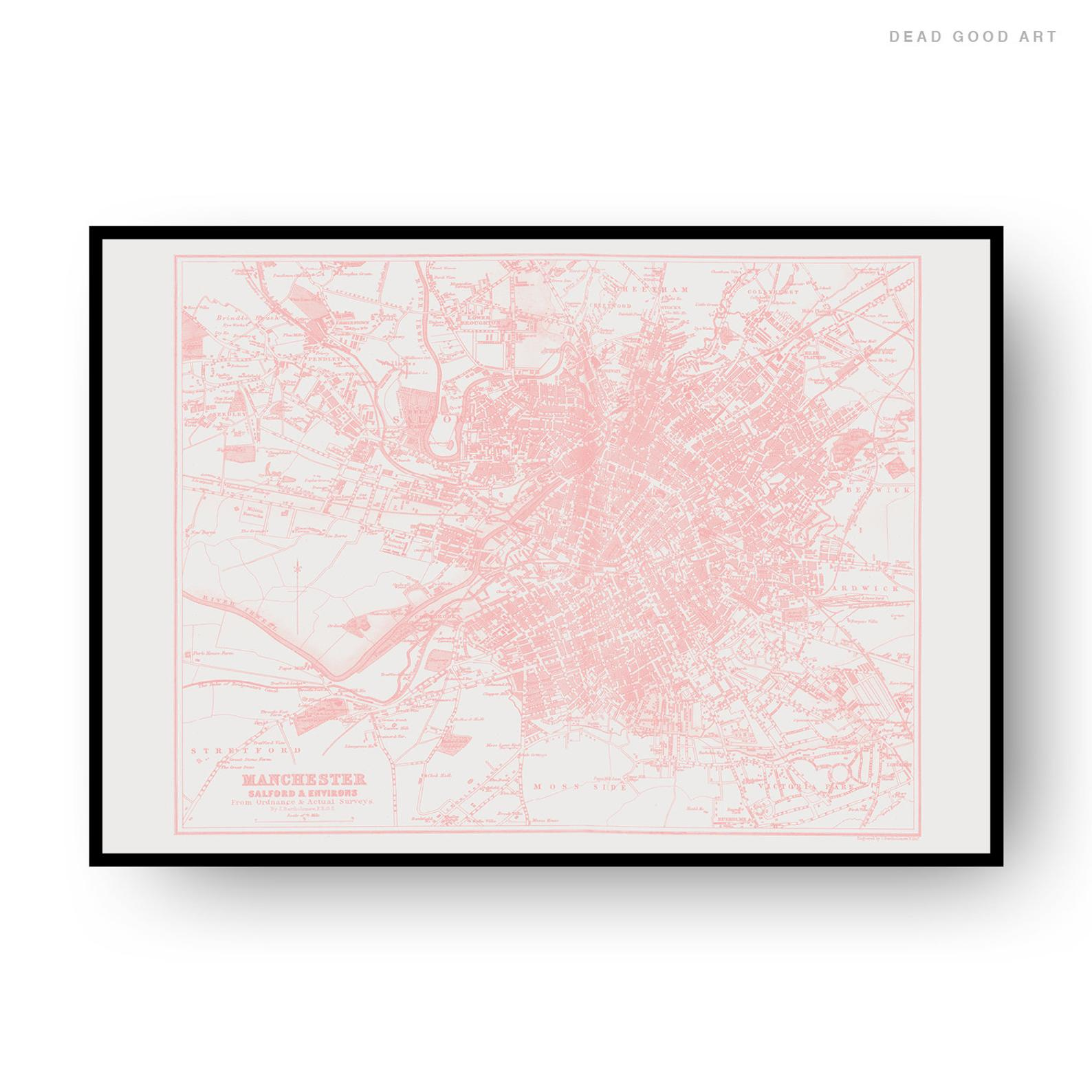 Manchester Vintage Street Map Cartography Pink Print