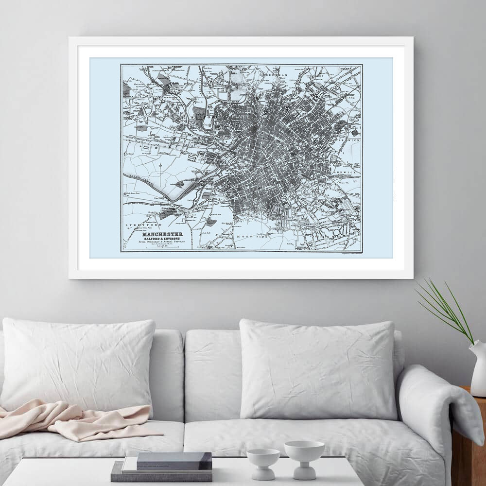 Manchester Vintage Street Map Cartography Sepia Print Framed
