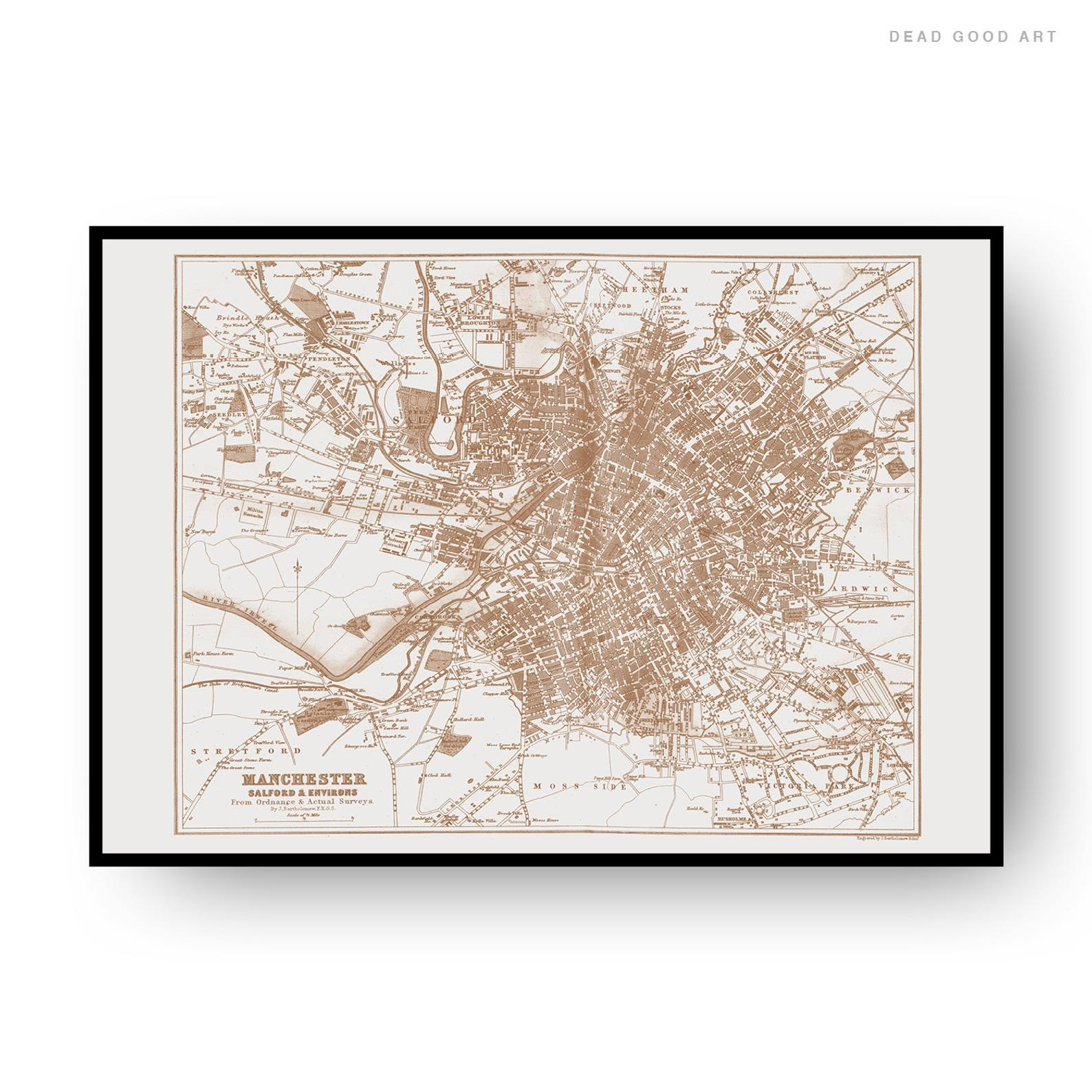Manchester Vintage Street Map Cartography Sepia Print